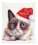 Grumpy Cat As Santa Tapestry