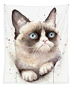 Grumpy Cat Watercolor Tapestry