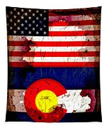 Grunge Style Usa And Colorado Flags Tapestry