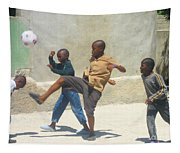 Haitian Boys Playing Soccer Tapestry