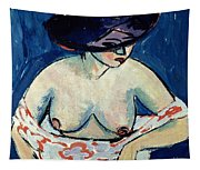 Half Naked Woman With A Hat Tapestry