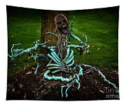 Halloween Green Skeleton Vinette Tapestry