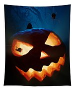 Halloween Pumpkin And Spiders Tapestry