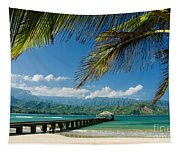 Hanalei Pier And Beach Tapestry