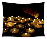 Hand Lighting Candles Tapestry