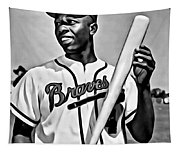Hank Aaron Painting Tapestry