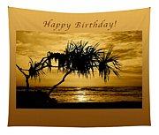 Happy Birthday Golden Sunrise Tapestry