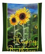 Happy Birthday Happy Sunflowers Couple Tapestry