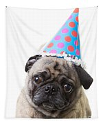 Happy Birthday Pug Card Tapestry