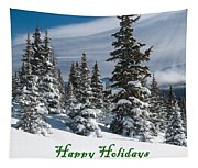 Happy Holidays - Winter Trees And Rising Clouds Tapestry