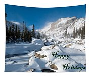 Happy Holidays Snowy Mountain Scene Tapestry