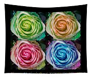 Happy Mothers Day Hugs Kisses And Colorful Rose Spirals Tapestry