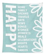 Happy Things Blue Tapestry
