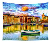 Harbor At Sunset Tapestry