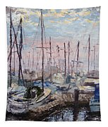 Harbor In Early Morning Tapestry