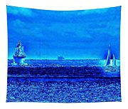 Harbor Of Refuge Lighthouse And Sailboat Abstract Tapestry