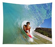 Hawaii, Maui, Makena - Big Beach, Boogie Boarder Riding Barrel Of Beautiful Wave Along Shore. Tapestry