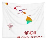 Hawaii State Map Collection 2 Tapestry