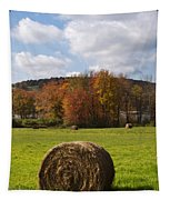 Hay Bale In Country Field Tapestry