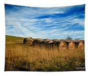 Hay Bales And Contrails Tapestry