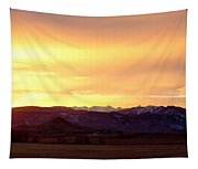 Haystack Rocky Mountain Front Range Sunset Panorama Tapestry