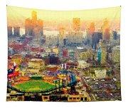 Haze Over Comerica Tapestry