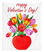 Heart Full Of Tulips Valentine Bouquet  Tapestry