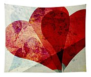 Hearts 5 Square Tapestry