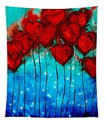 Hearts On Fire - Romantic Art By Sharon Cummings Tapestry