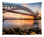 Hell Gate And Triboro Bridge At Sunset Tapestry