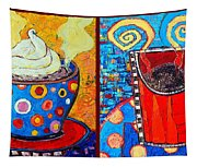 Her And His Coffee Cups Tapestry