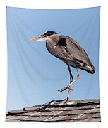 Heron Up On The Roof Tapestry