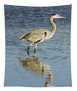 Heron Walking Through The Water. Tapestry