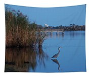 Heron Watching The Sunset Tapestry