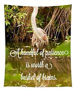 Heron With Quote Photograph  Tapestry