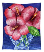 Hibiscus In Glass Vase Tapestry