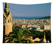 High Angle View Of A City, Barcelona Tapestry