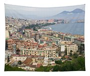 High Angle View Of A City, Naples Tapestry