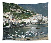 High Angle View Of A Town, Amalfi Tapestry