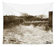 High Falls On The Genesee River Rochester New York At Flood Stage Circa 1904 Tapestry