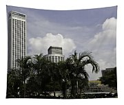 High Rise Buildings Behind Trees Along With Construction Work In Singapore Tapestry