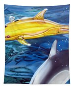 High Tech Dolphins Tapestry by Thomas J Herring