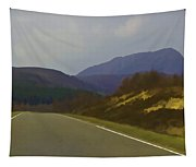 Highway Running Through The Wilderness Of Scottish Highlands Tapestry