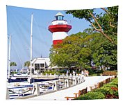 Hilton Head Lighthouse And Marina 2 Tapestry