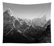 Himalaya Mountains Black And White Tapestry