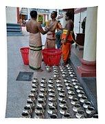 Hindu Priests Prepare Offering To Gods Tapestry