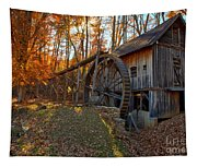 Historic Grist Mill With Fall Foliage Tapestry