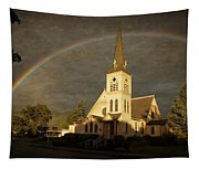 Historic Methodist Church In Rainbow Light Tapestry