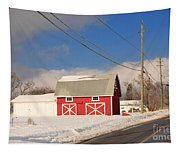 Historic Red Barn On A Snowy Winter Day Tapestry