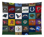 Hit The Gridiron Football League Retro Team Logos Recycled Vintage License Plate Art Tapestry